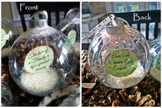 Favors for a holiday family party - I hope my guests love them! Christmas ornament favors gifts with family quote