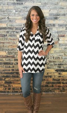 The Pink Lily Boutique - Black Chevron Button Blouse, $34.00 (http://thepinklilyboutique.com/black-chevron-button-blouse/)