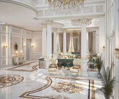 Main Entrance Hall design By Muhamed Khaled at Doha Main Entrance Hall design for a private villa at Doha on Behance Classic Interior, Luxury Interior, Interior Architecture, Classical Architecture, Luxury Kitchen Design, Interior Design Living Room, Kitchen Designs, Mansion Interior, Luxury Homes Dream Houses