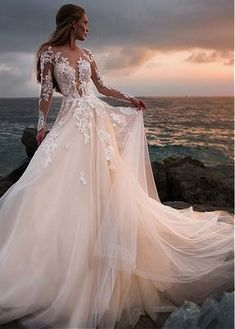 Champagne tulle wedding dress with illusion lace long sleeves # bridal dress . - Hochzeit - Champagne tulle wedding dress with illusion lace long sleeves dress # - Wedding Dress Necklines, Lace Wedding Dress With Sleeves, Long Sleeve Wedding, Long Wedding Dresses, Tulle Wedding, Bridal Dresses, Wedding Gowns, Lace Sleeves, Dresses Dresses