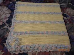 """Baby Blanket - Pale Yellow with variegated stripe - 36"""" x 37"""" - $40 +shipping"""