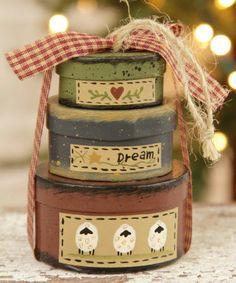 "Primitive ""Dream"" Sheep Nesting Box Ornament"
