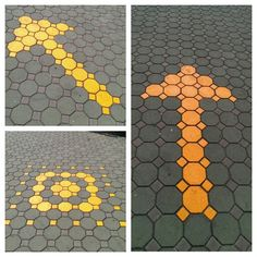 Smart graphic applied on paving units. Cheap and functionable design.