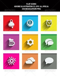 VECTOR DOWNLOAD (.ai, .psd) :: http://jquery.re/pinterest-itmid-1005991625i.html ... Flat Icons ...  8 ball, beer, bell, clock, cloud, cog, colorful, flat, flat icons, gear, icons, pool, shadow, speech bubble, square, sun, web, web elements  ... Vectors Graphics Design Illustration Isolated Vector Templates Textures Stock Business Realistic eCommerce Wordpress Infographics Element Print Webdesign ... DOWNLOAD :: http://jquery.re/pinterest-itmid-1005991625i.html