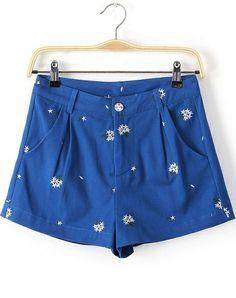 Blue Pockets Embroidered Denim Shorts US$28.33