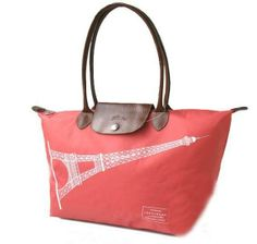 Longchamp Eiffel Bags: 2013 Longchamp Gorgeous Eiffel Tower Le Pliage In light  red