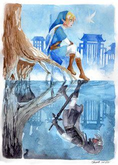 (Zeetali 💀 ™) Dark Link & Link - Legend of Zelda: Ocarina of Time (Zeetali 💀 ™) Dark Link & Link - L The Legend Of Zelda, Legend Of Zelda Breath, Image Zelda, Geeks, Link Zelda, Wind Waker, Fan Art, Twilight Princess, Breath Of The Wild