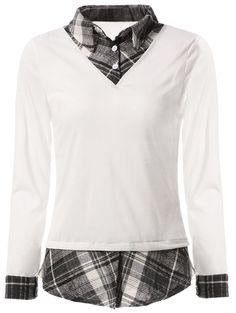 Stylish Shirt Collar Long Sleeve Plaid Slimming Shirt For Women #women, #men, #hats, #watches, #belts, #fashion, #style