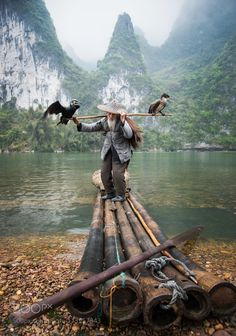 Cormorant Fisherman by the Li River II by by_shan #nature #mothernature #travel #traveling #vacation #visiting #trip #holiday #tourism #tourist #photooftheday #amazing #picoftheday