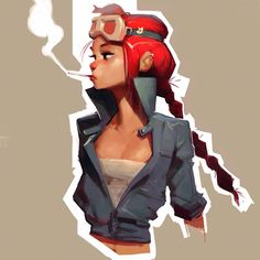 OC with red hair and aviator goggles by samuelyounart