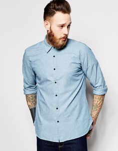 Levi's+Made+&+Crafted+Shirt+Standard+Slim+Fit+Chambray+Neps