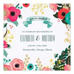"Modern Floral Watercolor Painting Design Personalized Wedding Invitations. Customize the names, date , text and all details of your Invitations. Matching Bridal Shower Invitations, Save the Date Cards, Wedding Postage Stamps, Bridesmaid to be Request Cards, Thank You Cards and other Wedding Stationery and Wedding Favors and Gifts available in the Modern Design Category of the ""Your Wedding Day"" Store at Zazzle."
