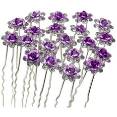 Newstarfactory Rose U-sharped Design Collection Metal Hair Pins Pack... ($25) ❤ liked on Polyvore featuring accessories, hair accessories, purple hair pins, metal hair accessories, rose hair pins, rose hair accessories and bobby hair pins