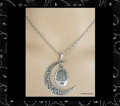 NEW - SILVER FILIGREE CRESCENT MOON WITH TREE OF LIFE PENDANT NECKLACE #Handmade #Pendant