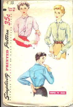 Vintage 1950's Womens Shirt Pattern, Simplicity 4813 Sewing Pattern, Size 16