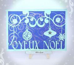 Carte de Voeux Joyeux Noël sur papier calque, motif swirls et déco strass. Christmas Card by MSi's Boutik
