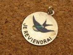 Vintage Enamel Je Revendrai Sterling Silver 925 Charm Pendant   eBay, sold for $179.50