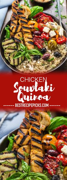 Chicken Souvlaki Quinoa – A delicious Mediterranean inspired chicken dish with mouth watering flavors. Served with grilled vegetables, quinoa and brown rice. Appetizer Recipes, Dinner Recipes, Lunch Recipes, Weeknight Recipes, Weeknight Dinners, Summer Recipes, Keto Recipes, Dinner Ideas, Greek Chicken Souvlaki