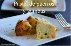 pastel de puerros y gambas Canapes, Quiche, Ratatouille, Baked Potato, Salad Recipes, Tapas, Food And Drink, Veggies, Cooking
