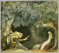 Linda gold and the old king. John Albert Bauer (4 June 1882 – 20 November 1918) was a Swedish painter and illustrator. His work is concerned with landscape and mythology, but he also composed portraits. He is best known for his illustrations of early editions of Bland tomtar och troll (Among Gnomes and Trolls), an anthology of Swedish folklore and fairy tales.