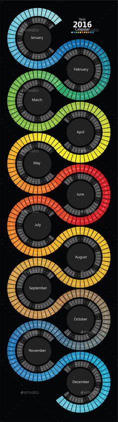 2016 Spectrum Swirl Calendar - Calendars Stationery