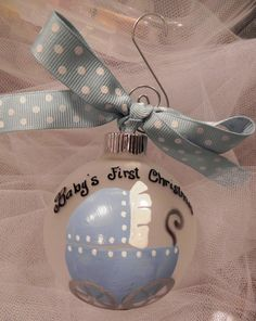 Hand Painted Christmas Ornament - Baby's First Christmas