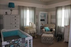 Rio posted Gray teal elephant nursery to their -baby time! Teal Baby Rooms, Baby Boy Rooms, Baby Boy Nurseries, Elephant Nursery, Girl Nursery, White Nursery, Striped Nursery, Turquoise Nursery, Striped Walls