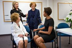 """July 12, 2011  """"Chuck Kennedy covered the funeral of former First Lady Betty Ford at St. Margaret's Episcopal Church in Palm Desert, Calif. In attendance were three former First Ladies as well as the current First Lady, all shown here backstage, from left: Nancy Reagan, Hillary Rodham Clinton, Rosalynn Carter and Michelle Obama.""""  (Official White House Photo by Chuck Kennedy)"""