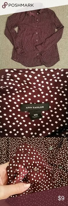 Ann Taylor Work Blouse Chocolate brown work blouse -- great neutral for your winter work wardrobe! Shirt is missing the button on each cuff, so price adjusted accordingly. Arguably looks better with sleeves rolled up anyway, or new buttons could be attached. Either way, you'll get a ton of use out this very professional shirt for the price :) all offers considered! Ann Taylor Tops Button Down Shirts