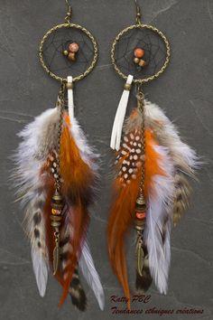 """Boucles d'oreille dreamcatcher """" Donoma""""- plumes perles et bronze : Boucles d'oreille par tendances-ethniques-creations"""