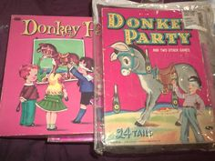 Lot 2 Vintage Pin The Tail on The Donkey