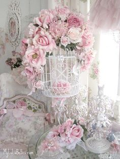 Shabby #chic #pink #roses #birdcage