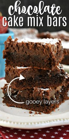 If you need a gooey chocolate brownie in your life right now, this GOOEY Chocolate Brownie Bars recipe will satisfy your chocolate cravings! Made easy with a cake mix!