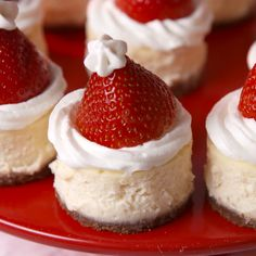 Mini Santa Cheesecake Bites - Holiday Recipes: Menus, Desserts, Party Ideas from Food Network . Christmas Party Food, Xmas Food, Christmas Cooking, Chrismas Food Ideas, Baking For Christmas, Christmas Christmas, Christmas Food List, Christmas Things To Do, Christmas Buffet
