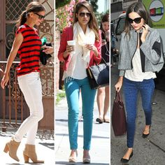 I love these white jeans with the blue and red stripe shirt and short cowboy boots