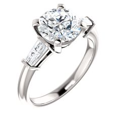 14kt diamond baguette engagement ring. Find it at a jeweler near you: www.stuller.com/locateajeweler #bestseller #engagement
