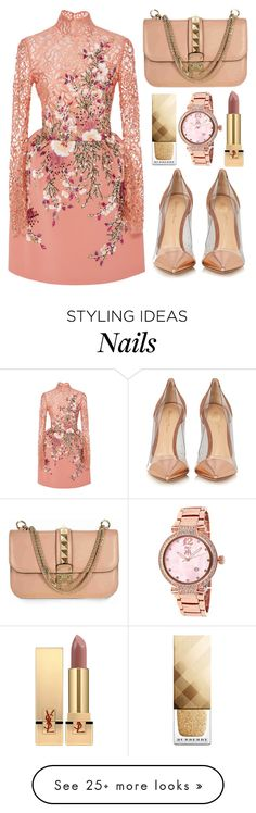 """""""Holiday Dress"""" by jomashop on Polyvore featuring Georges Hobeika, Jivago, Valentino, Yves Saint Laurent, Burberry, Gianvito Rossi, Pink, neutral and longsleeve"""