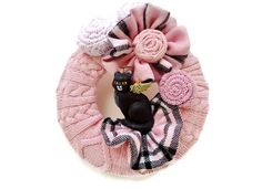 Mini Kitty Wreath Pink Knitted Sweater With Angel by nanniepannie