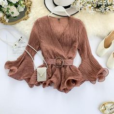There is always many products on sae upto - Autumn 2019 New Shirt Women's V Neck Long Flare Sleeve Chiffon Blouse Solid Color Fashion Tops - eTrendings Teen Fashion Outfits, Classy Outfits, Beautiful Blouses, Chiffon Tops, Chiffon Blouses, Shirt Blouses, Stylish Dresses, Colorful Fashion, Blouses For Women