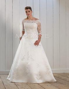 Dentelle robe de mariée grande taille satin épaule dégagée traîne courte [#M1408056475] - modanie