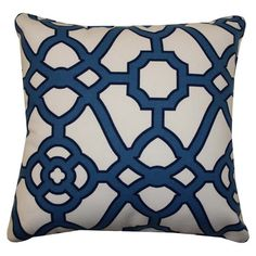 Add a pop of eye-catching style to your living room sofa or patio arm chair with this cosmopolitan indoor/outdoor pillow, showcasing a geometric trellis moti...