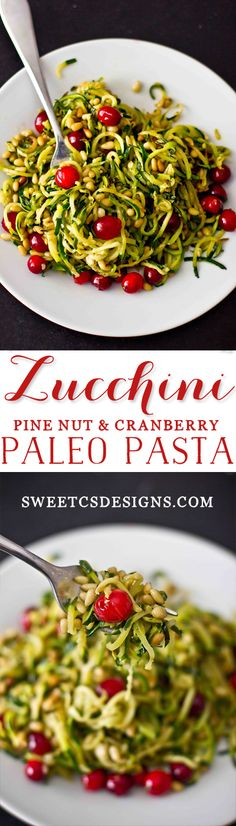 zucchini pine nut and cranberry paleo pasta- this is so delicious, easy to make, and completely grain free!