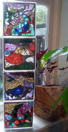stained glass mosaic blocks by Sarah Coleman