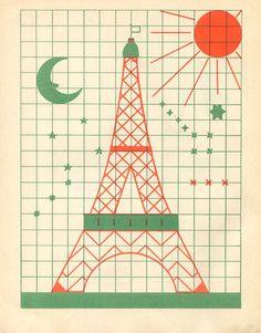 Enfant-vintage-kids-cahier-dessin-fernand-nathan-tour-eiffel-paris