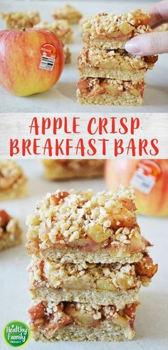 Take your breakfast on-the-go with these Apple Crisp Breakfast Bars. Just layer your ingredients and bake for a healthy, delicious way to start the day. Perfect for a make-ahead breakfast, grab and go snack or even as dessert! Recipe modifications included to make gluten-free, vegan or dairy-free. Healthy Breakfast On The Go, Make Ahead Breakfast, Healthy Breakfast Recipes, Breakfast Ideas, Recipe Modifications, Apple Crisp, Kid Friendly Meals, Recipe Of The Day, Dairy Free