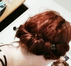 Cute rolled over hairstyle. Quick and easy (I did this on shoulder length hair).