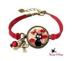 bracelet chat noir papillon rouge cabochon verre bijoux fantaisie anniversaire bracelet par bronze - Sautoir Fantaisie Color