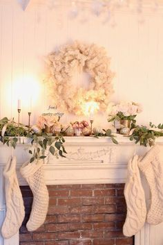 Romantic White Christmas Mantel - FRENCH COUNTRY COTTAGE