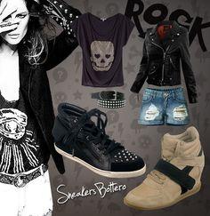 Estilo rocker = atitude e ousadia em um só estilo! Abuse das tachinhas, look black total, jaqueta de couro, caveirinhas, coturnos e aumente o som! \m/