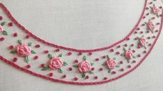 Easy Neckline Embroidery for Dress/Kurti/Tunic (Hand Embroidery Work) Embroidery On Kurtis, Hand Embroidery Videos, Hand Work Embroidery, Embroidery Flowers Pattern, Silk Ribbon Embroidery, Simple Hand Embroidery Patterns, Basic Embroidery Stitches, Flower Embroidery Designs, Kurti Embroidery Design